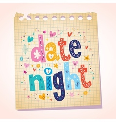 Date night notepad paper message reminder vector