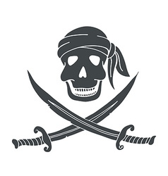 Jolly roger hand drawn of skull with swords vector