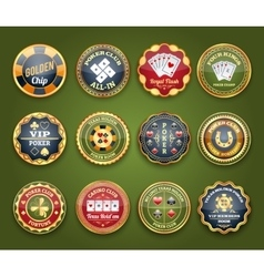 Poker glossy labels set vector