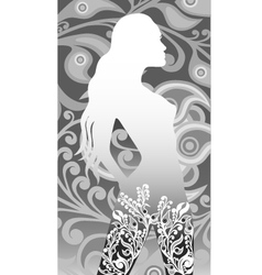 Floral silhouette of a girl vector