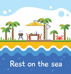 Rest on the sea vector