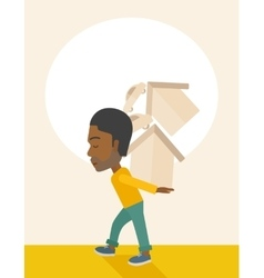 Black man carrying house and car vector