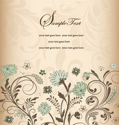 Retro floral card for events vector