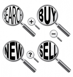 Magnify glass with messages vector