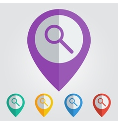 Flat pin with search icon vector