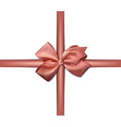 Satin pink ribbon gift bows vector