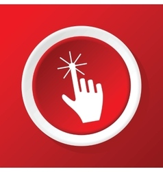 Hand cursor icon on red vector