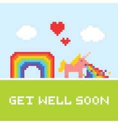 Get well soon unicorn vector