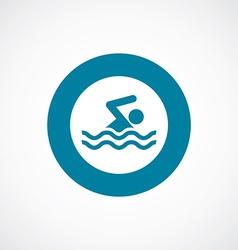 Swim icon bold blue circle border vector