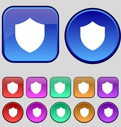 Shield protection icon sign a set of twelve vector