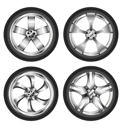 Car wheel set vector