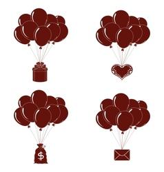 Balloons bunches silhouette set vector