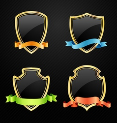 Gold and black shield with ribbon vector