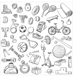 Hand drawn fitness doodle set vector