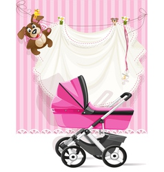 Baby shower pink card vector
