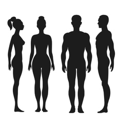 Front and side view silhouettes of man woman vector