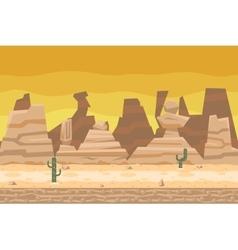 Seamless desert road cactus nature concept flat vector