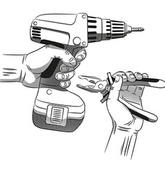 Electric screwdriver and hand with pliers vector