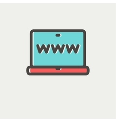 Website in laptop screen thin line icon vector