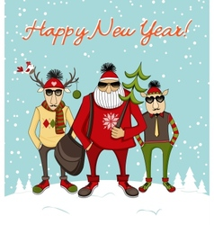 Christmas background with hipster santa vector