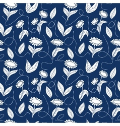 Traditional blue seamless sunflowers pattern vector