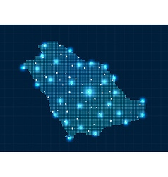 Pixel saudi arabia map with spot lights vector