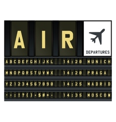 Airport timetable letters vector