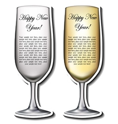 Champagne glass shaped card vector