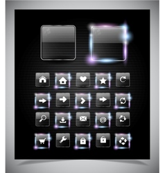 Glass glowing buttons for web vector