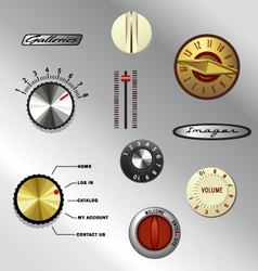 Vintage knobs set 1 vector
