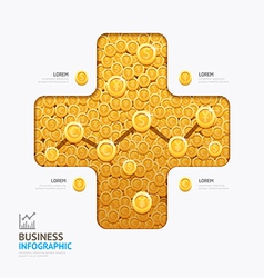 Infographic business currency money coins plus sha vector
