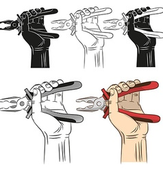 Open pliers in hand vector