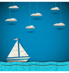 Sailing boat and clouds vector