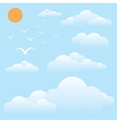 Bird at sky sun and cloud vector