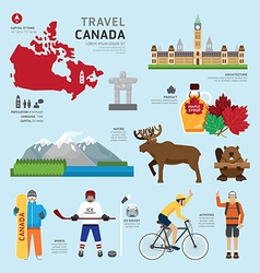 Travel concept canada landmark flat icons design vector