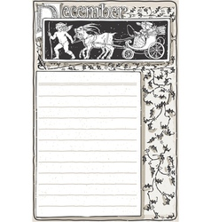 Vintage december page with carriage cupid vector