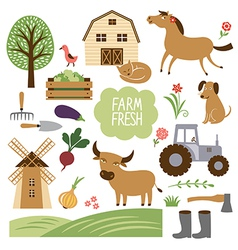 Farm animals and related it vector