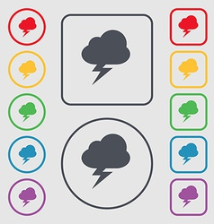 Storm icon sign symbol on the round and square vector