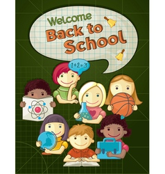 School concept with cute kids vector