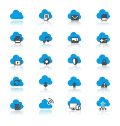 Cloud computing flat with reflection icons vector
