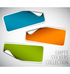 Set of blank rectangle stickers vector