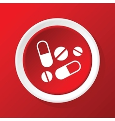 Medicine icon on red vector