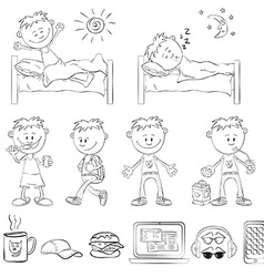 Boy draw the outline vector