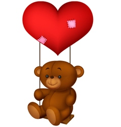 Balloon shaped read heart little girl swing vector
