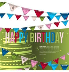Birthday card with bunting flags vector