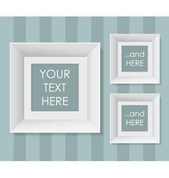 Set of white frames over striped background vector