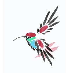 Watercolor blue hummingbird in flight vector