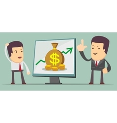 Business growth chart - a man at the presentation vector