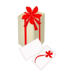 A gift box with red ribbon and gift card vector