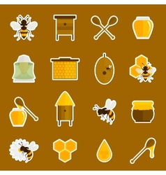 Bee honey icons stickers set vector